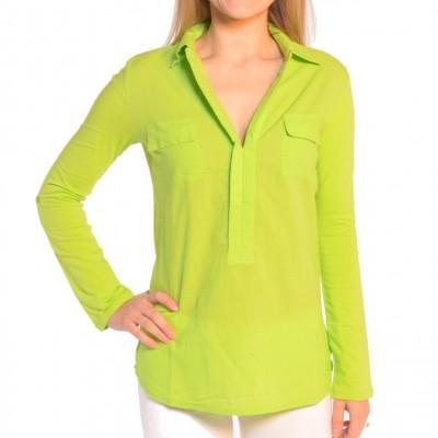Ladies Short Sleeve V-Neck Shirt in Lime