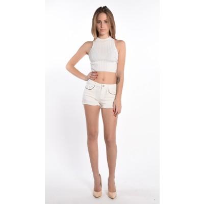 Shorts In White Denim