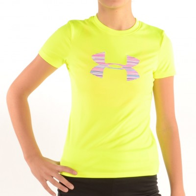 Girl's Big Logo Tech Shirt Hi Vis Yellow/Stripe