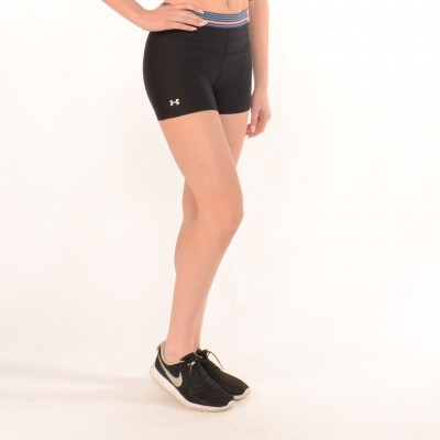 Workout Compression Shorts in Black with Multicolor waistband