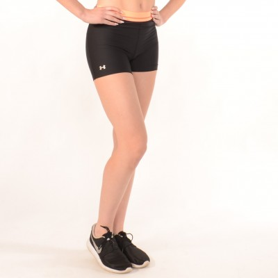 Workout Compression Shorts in Black with Orange waistband