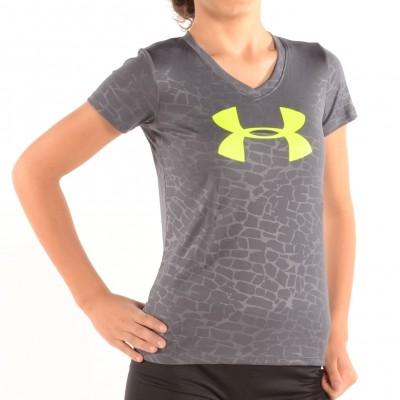 Girl's V-Neck Big Logo Tech Shirt Charcoal/Lime Green