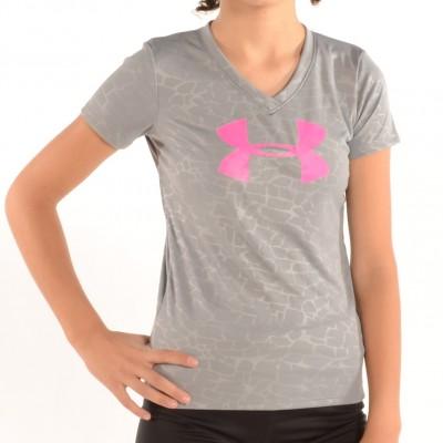 Girl's V-Neck Big Logo Tech Shirt Gray/Pink