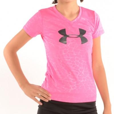 Girl's V-Neck Big Logo Tech Shirt Pink/Black