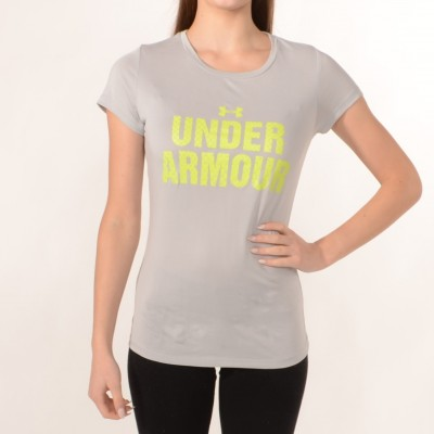 T-Shirt in Grey with Lime print