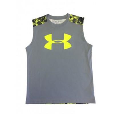 Boy's Big Logo Sleeveless Shirt Gray/Hi Vis Yellow