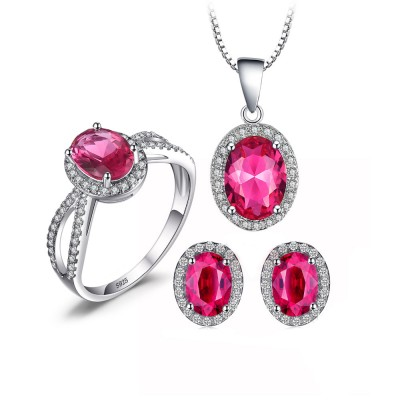 925 Sterling Silver Simulated Pink Sapphire Jewellery Set