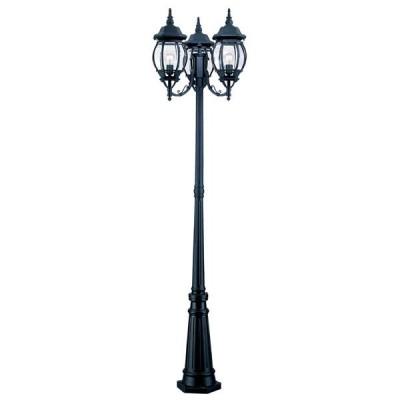 Chateau 3-Lantern Matte Black Surface-Mount Post Combination