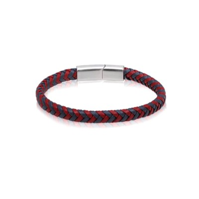 RED AND GREY LEATHER BRACELET