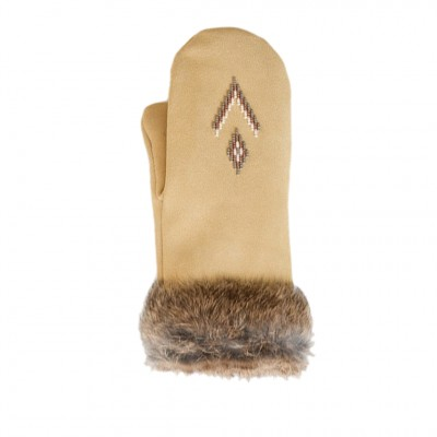 Manitobah Mukluks Fur Trim Mittens in Tan