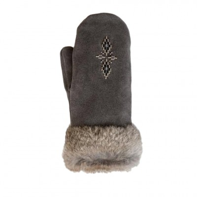 Manitobah Mukluks Fur Trim Mittens in Charcoal