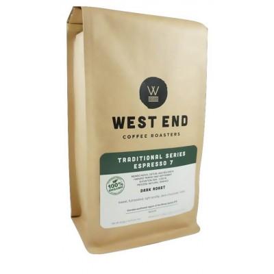 West End Coffee Roasters, Organic Espresso 7, Dark Roast, Whole Bean 14oz