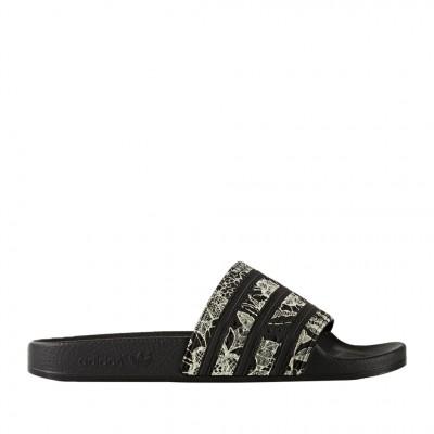Adidas Women's Adilette Slip On Sandal in Floral Black and White