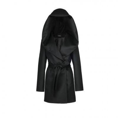 Sentaler Hooded Wrap Coat in Black