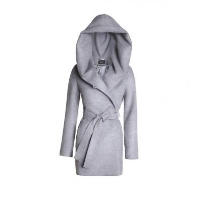 Sentaler Hooded Wrap Coat in Shale Grey