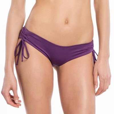 Solid Purple Collection String Ruched Bikini Bottoms