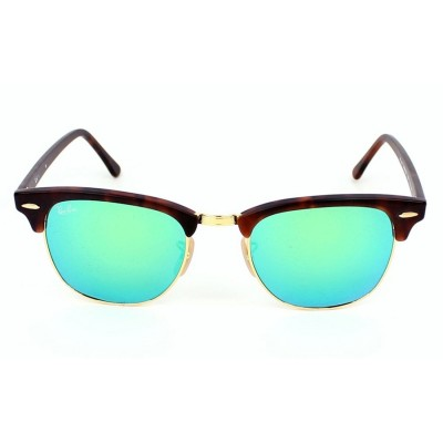 Ray Ban Unisex Tortoise Clubmaster Sunglasses With Mirrored Green Flash Lens