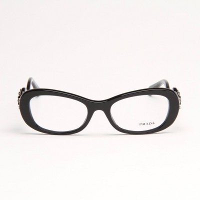 Black Frame Eyeglass With Jewel Detailed Temple