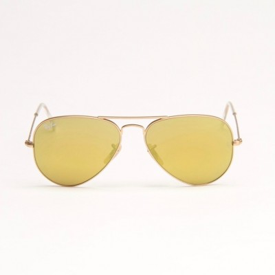 Matte Gold Metal Aviator Sunglasses With Gold Mirror Lens