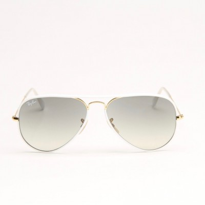White And Gold Metal Aviator Sunglasses With Grey Gradient Lens