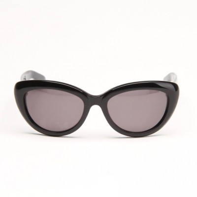 Black Frame And Black Panther Temple Sunglasses With Grey Lens