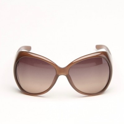 Brown Oval Sunglasses With Grey Shaded Lens