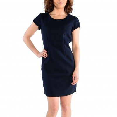 Short Sleeve Woven Dress With Woven Textured