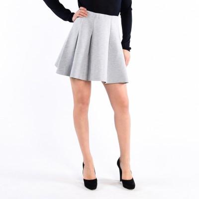 Mini Length Box Pleat Neoprene-Look Skirt
