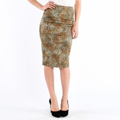 Woven Leopard Pencil Skirt