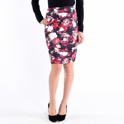 Woven, Mid Length Tiered Pencil Skirt, Floral