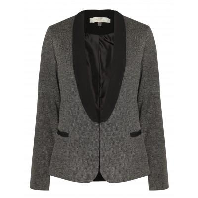 Long Sleeve Metallic Tweed Blazer With Contrasting Sol