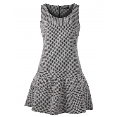 Sleeveless Geo Knit Pattern Drop-Waisted Floun