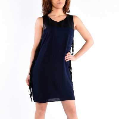 Sleeve Less Color Block Dress  With Fringe On The Side