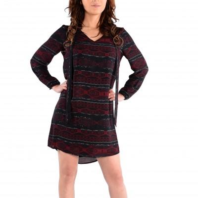 Long Sleeve V-Neck Printed Dress