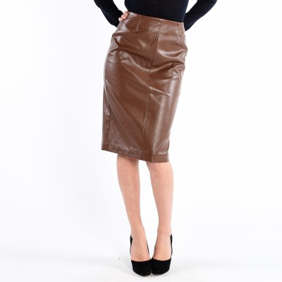 Pleather Pencil Skirt  With Back Zip