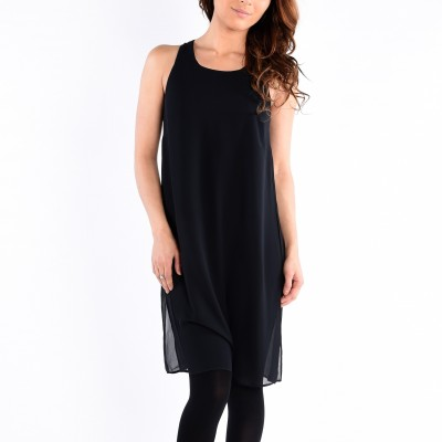 Sleeve Less Long Top With Keyhole At Cb Solid
