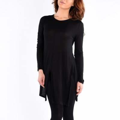 Long Sleeve Knit Tunic Front Side Slits