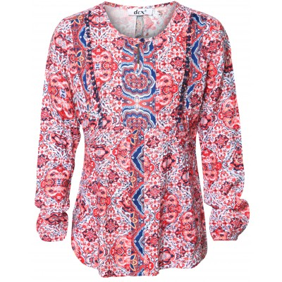 Long Sleeve Printed Top With Crochet Details