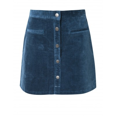 Corduroy Mini Skirt Buttoned Front