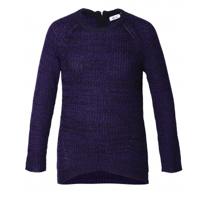Long Sleeve Mix Yarn Sweater With Back Zip