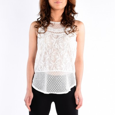 Sleeve Less Round Neck Top With Back Keyhole