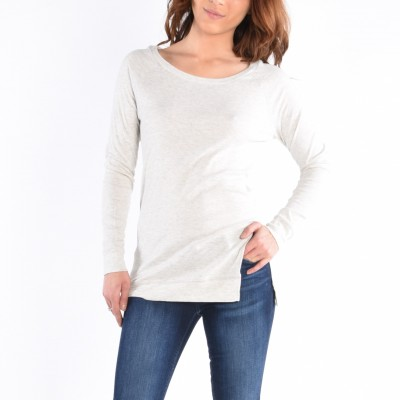 Long Sleeve Round Neck Top With Asymmetric Slit