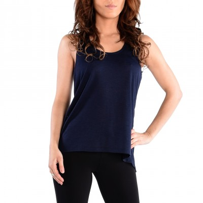 Sleeve Less Round Neck Tee With a Slit in The Back