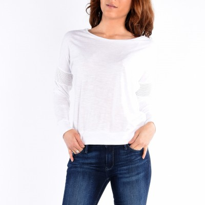 Mesh Inserted Long Sleeve Boat Neck Top