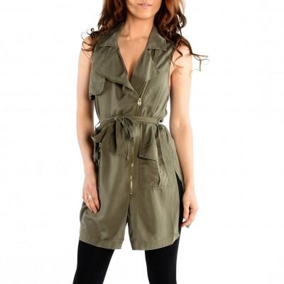 Sleeve Less Asymmtric Zip Frt Vest