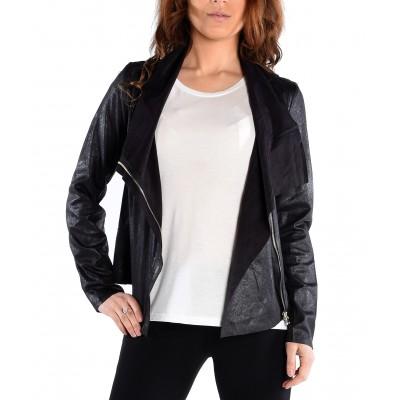 Long Sleeve Zip Front Flyaway Faux Suede Jacket