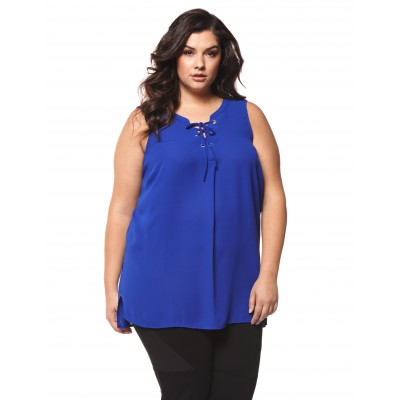Sleeve Less Cami With Laced Up Neckline