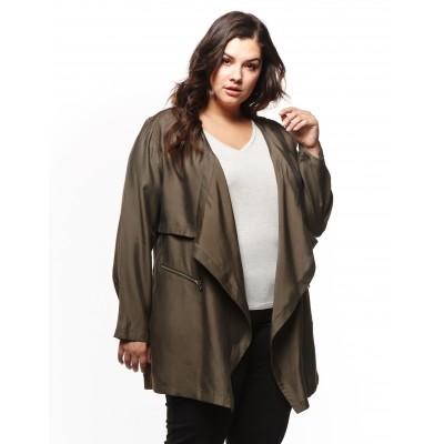 Long Sleeve Flyaway Front Jacket With Zip Detail