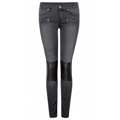 Super Skinny Jeans With Leather Patch Knees