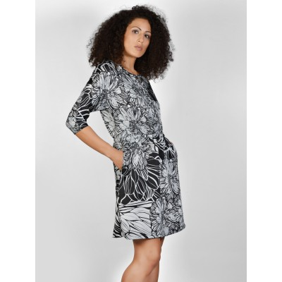 Bluberry Women's Portia Black Flowers Short Dress